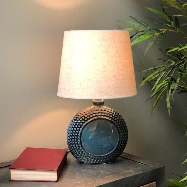 Dimpled Blue Kimmeridge Table Lamp & Shade at the Farthing