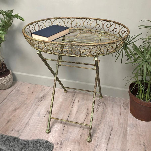 Distressed Folding Metal Tray Table | The Farthing