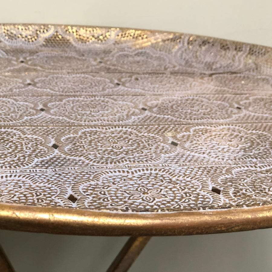 Distressed Gold Filigree Side Table at the Farthing 1