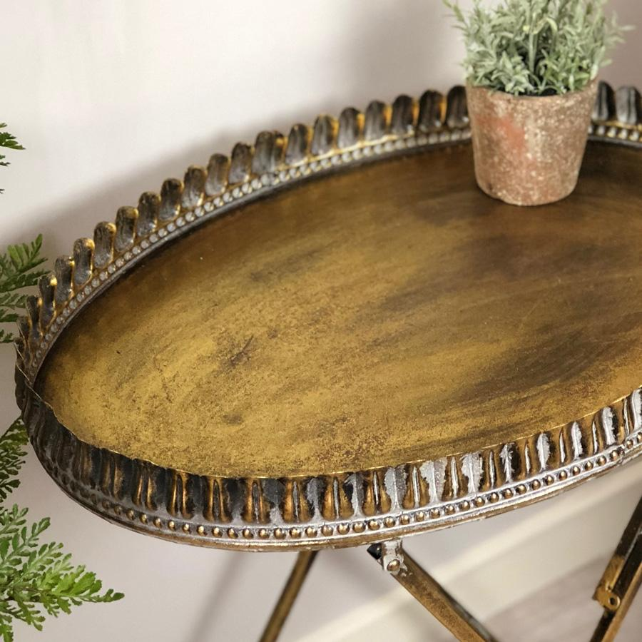 Distressed Gold Fluted Side Table | Farthing  2
