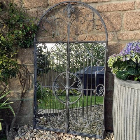 Distressed Grey Arch Metal Garden Mirror   Large   The Farthing