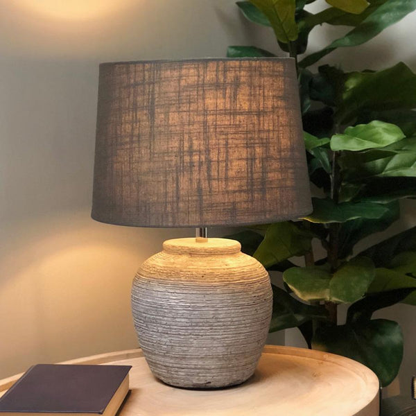 Distressed Grey Wooden Lamp With Shade | The Farthing 2