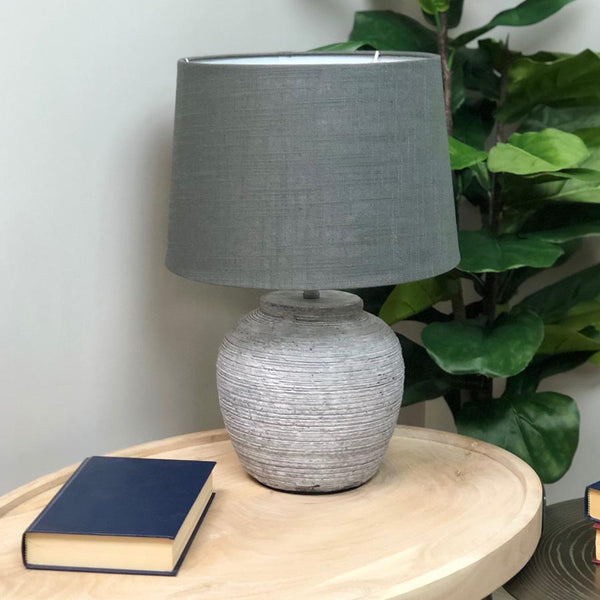 Distressed Grey Wooden Lamp With Shade | The Farthing 4