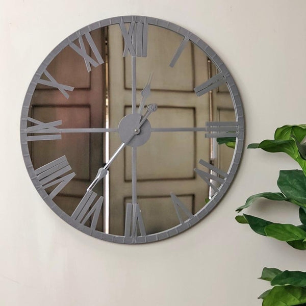 Distressed Grey Mirrored Wall Clock | Farthing