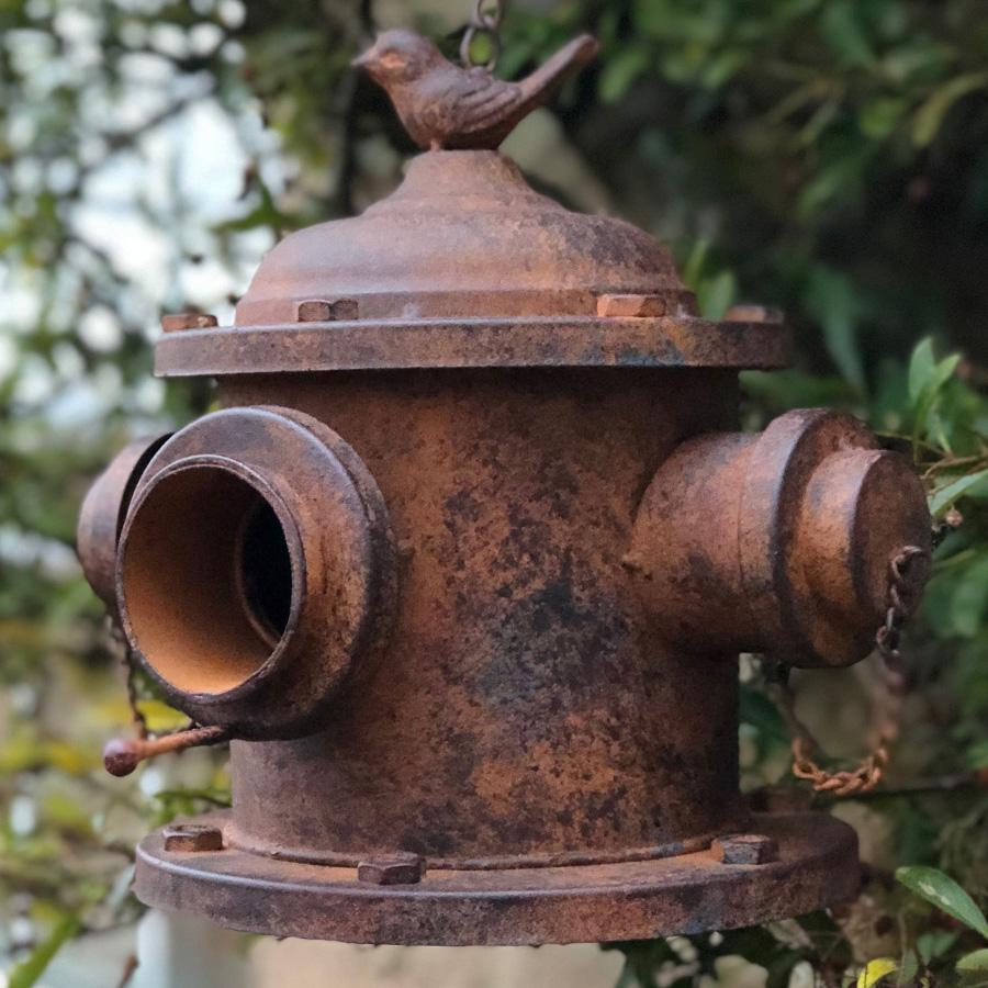 Distressed Metal Hanging Bird House | Farthing 1