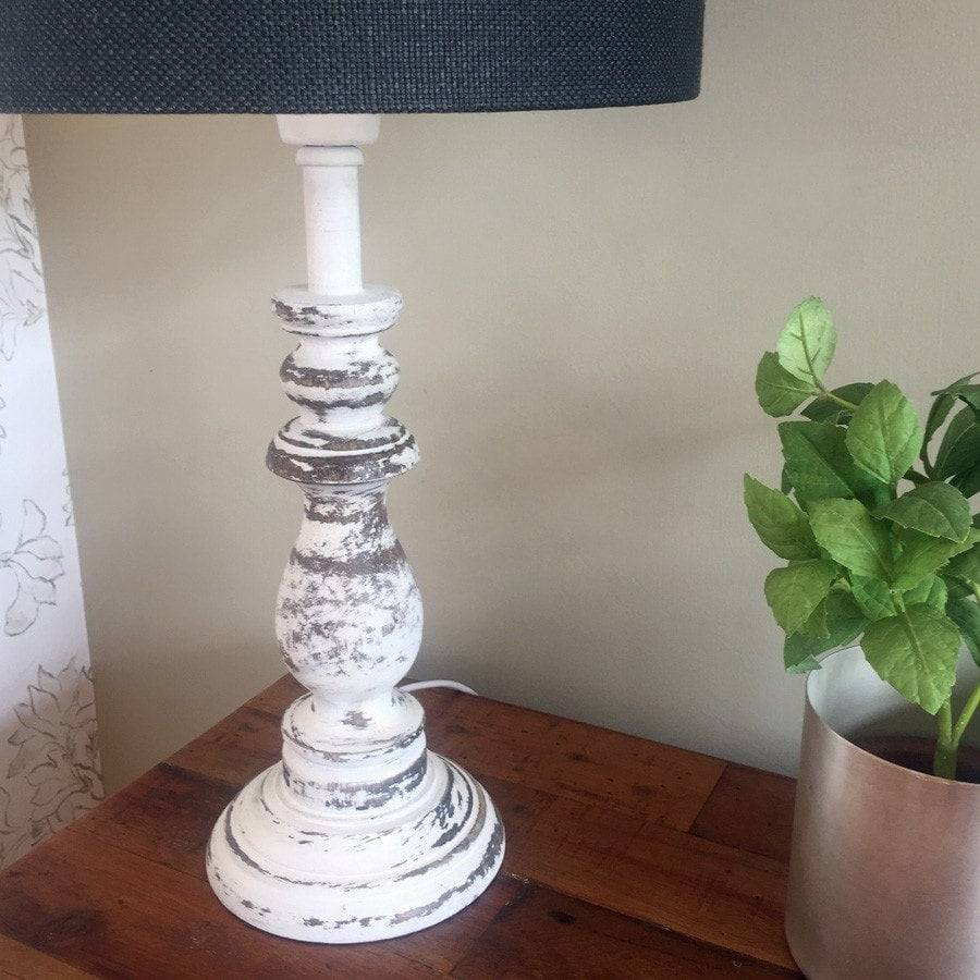 traditional rustic wooden table lamp shabby chic table lighting the farthing. Black Bedroom Furniture Sets. Home Design Ideas