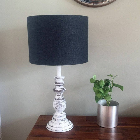 Distressed Old White Wooden Table Lamp & Shade - The Farthing