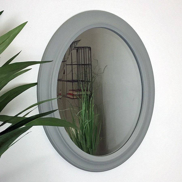 Distressed Oval Dorset Grey Wall Mirror - The Farthing