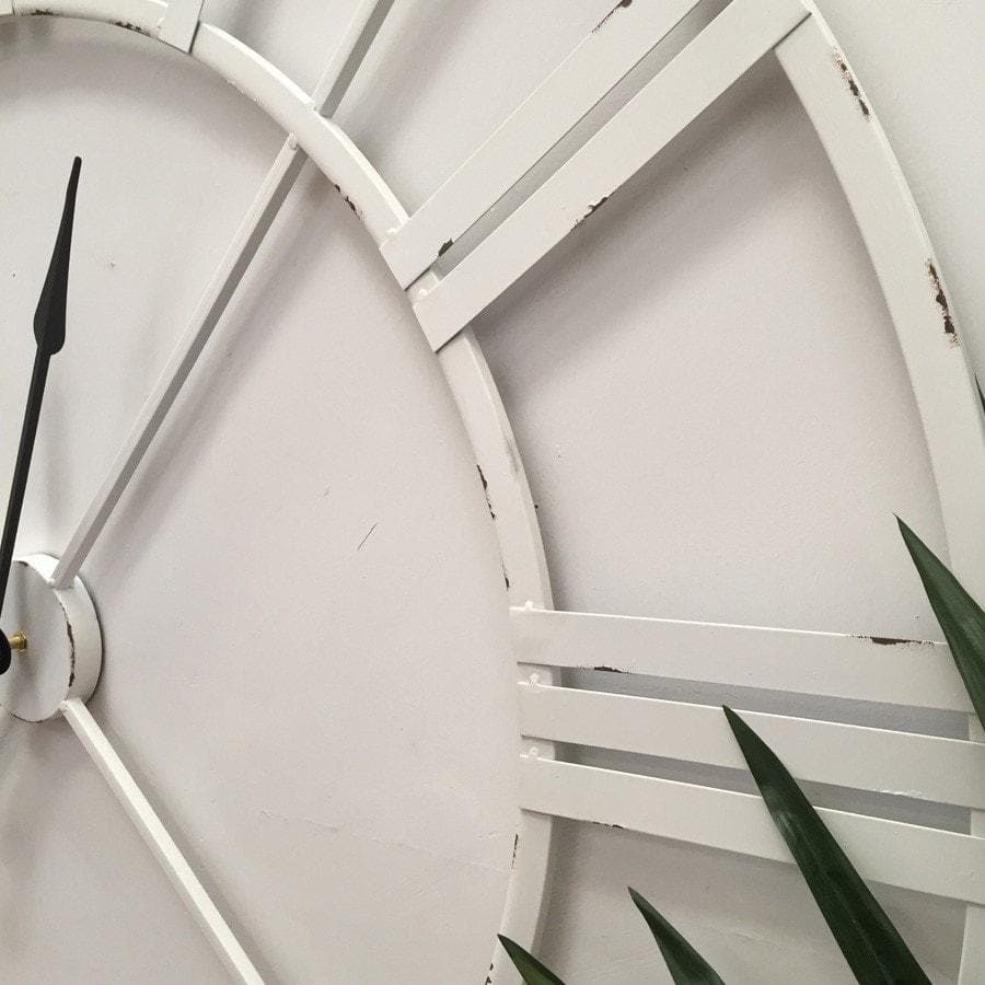 Distressed Oversized Vintage White Skeleton Clock - The Farthing