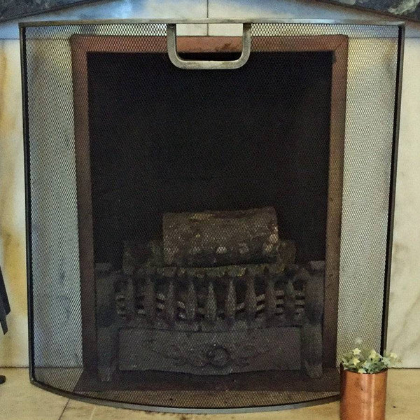 Distressed Pewter Curved Fire screen - The Farthing