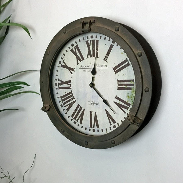 Distressed Porthole Wall Clock - The Farthing