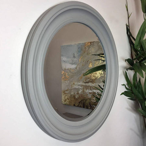 Distressed Round Dorset Grey Wall Mirror - Large - The Farthing