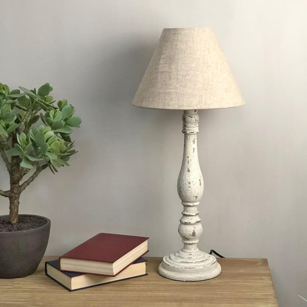 Distressed Old White Table Lamp - The Farthing