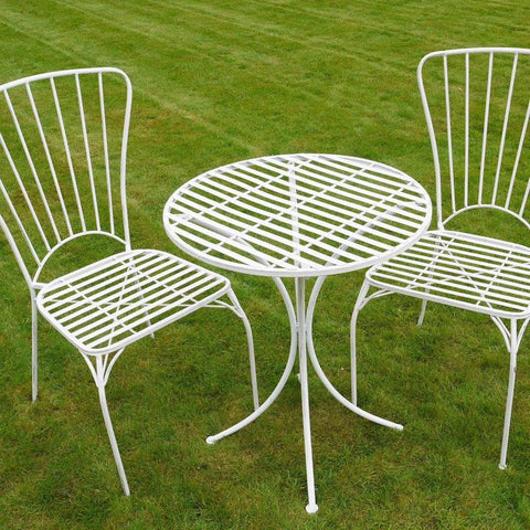 Distressed White Metal Bistro Set of Table & Two Chairs - The Farthing