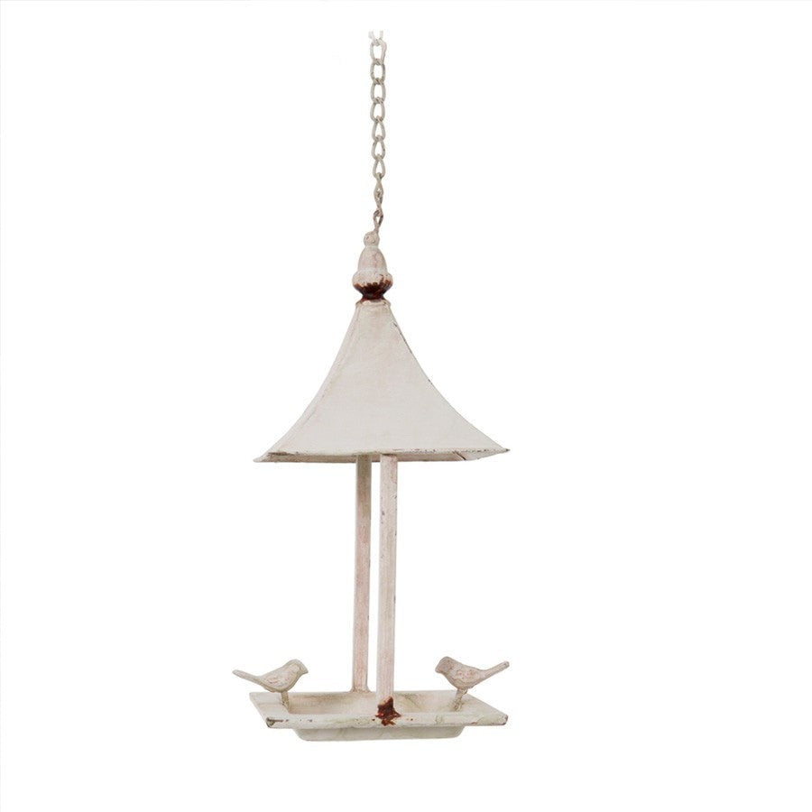 Distressed White Metal Hanging Bird Feeder | Farthing