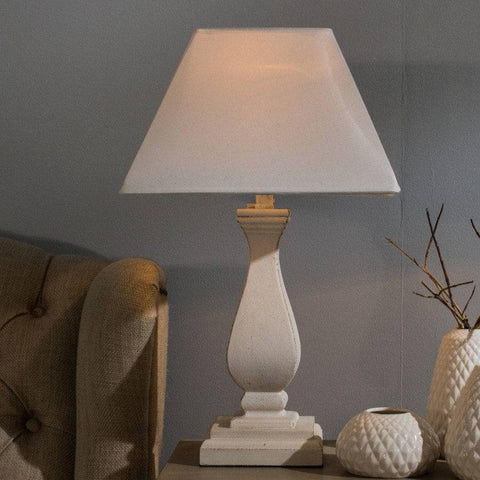 Distressed White Table Lamp & White Shade