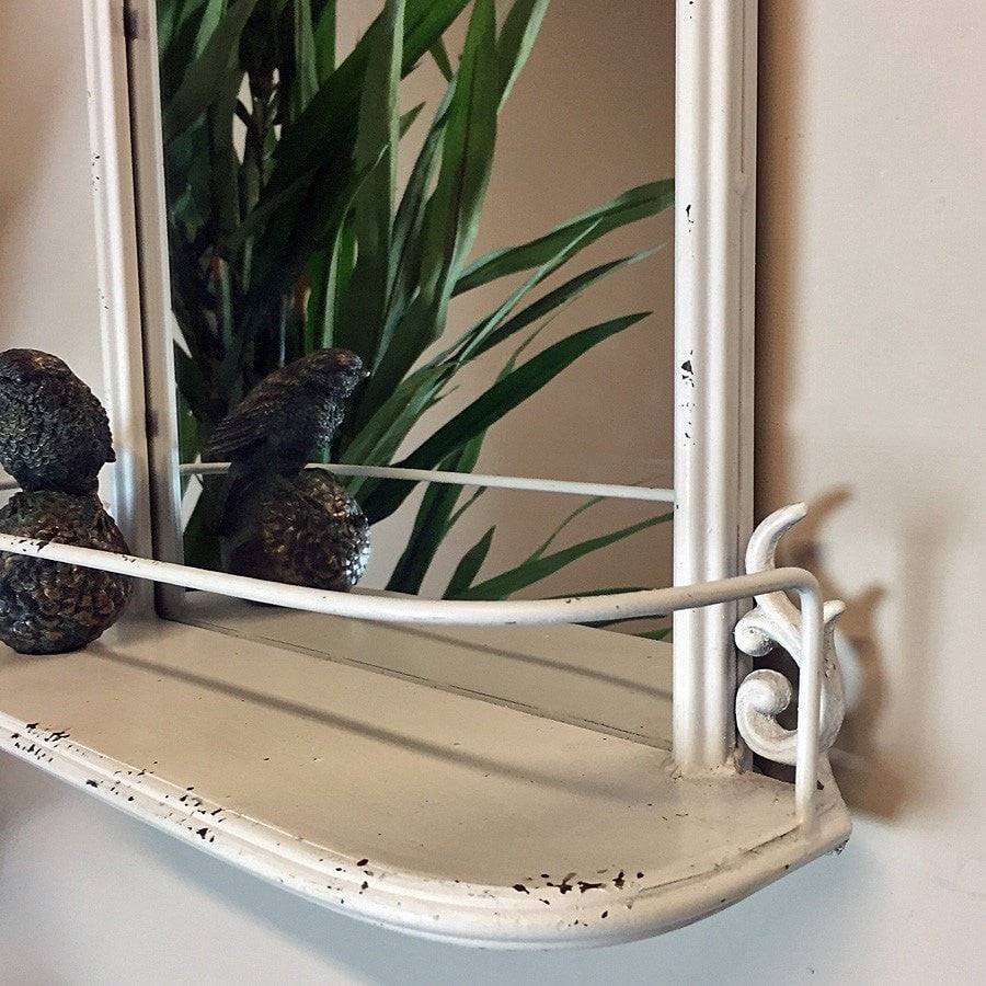 Distressed White Wall Mirror Shelf - The Farthing