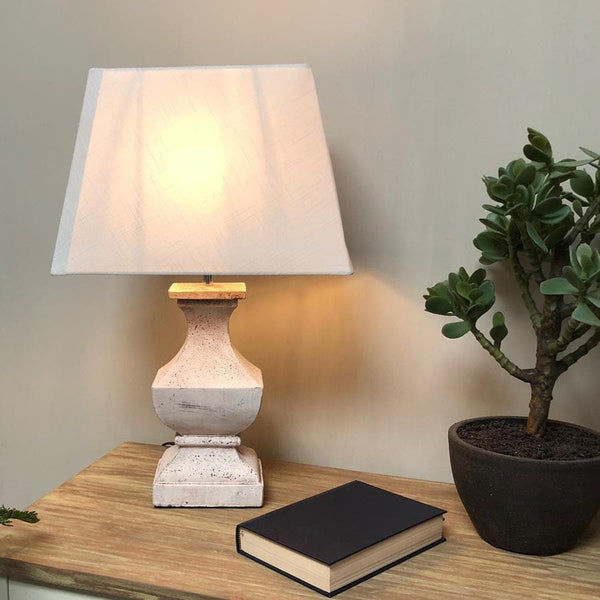Distressed White Wooden Table Lamp & Shade at the Farthing 2