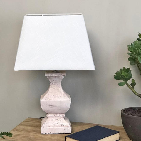 Distressed White Wooden Table Lamp U0026 Shade At The Farthing 1