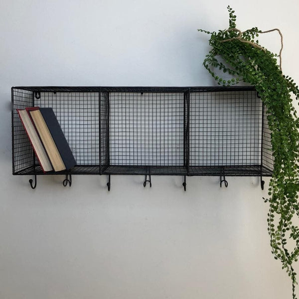 Distressed Black Metal Wirework Wall Shelf with Hooks 1