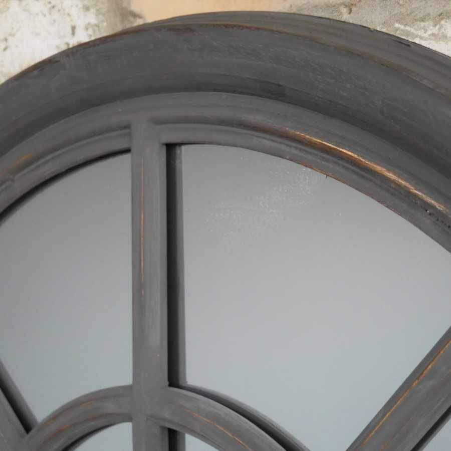 Distressed Dark Grey Arched Top Window Mirror at the Farthing