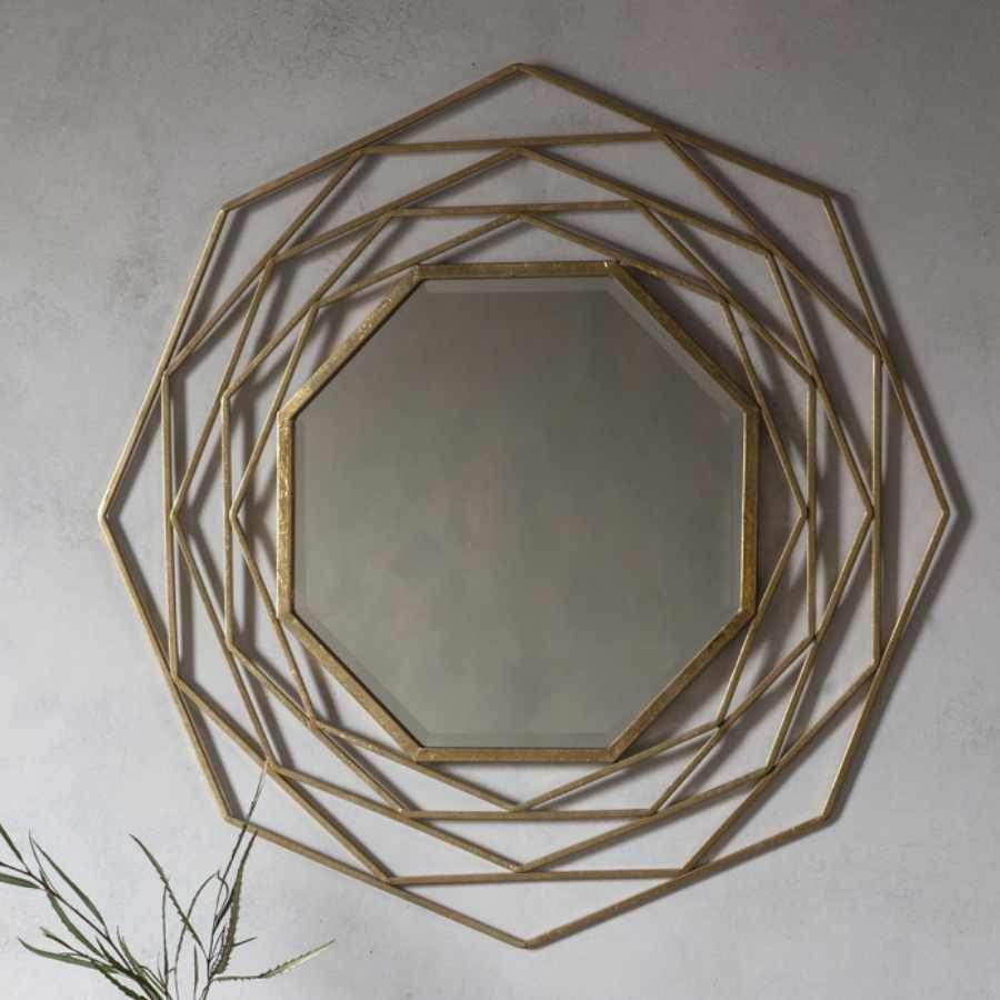 Distressed Gold Art Deco Metal Mirror