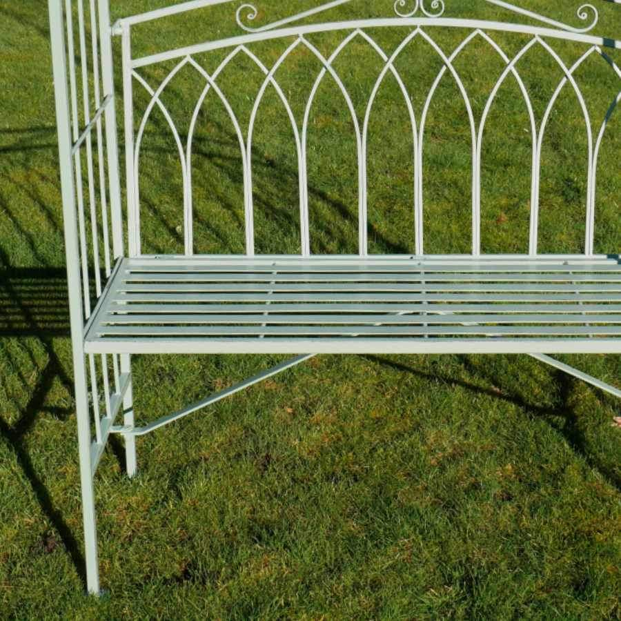 Distressed Green Steel Arch and Garden Bench