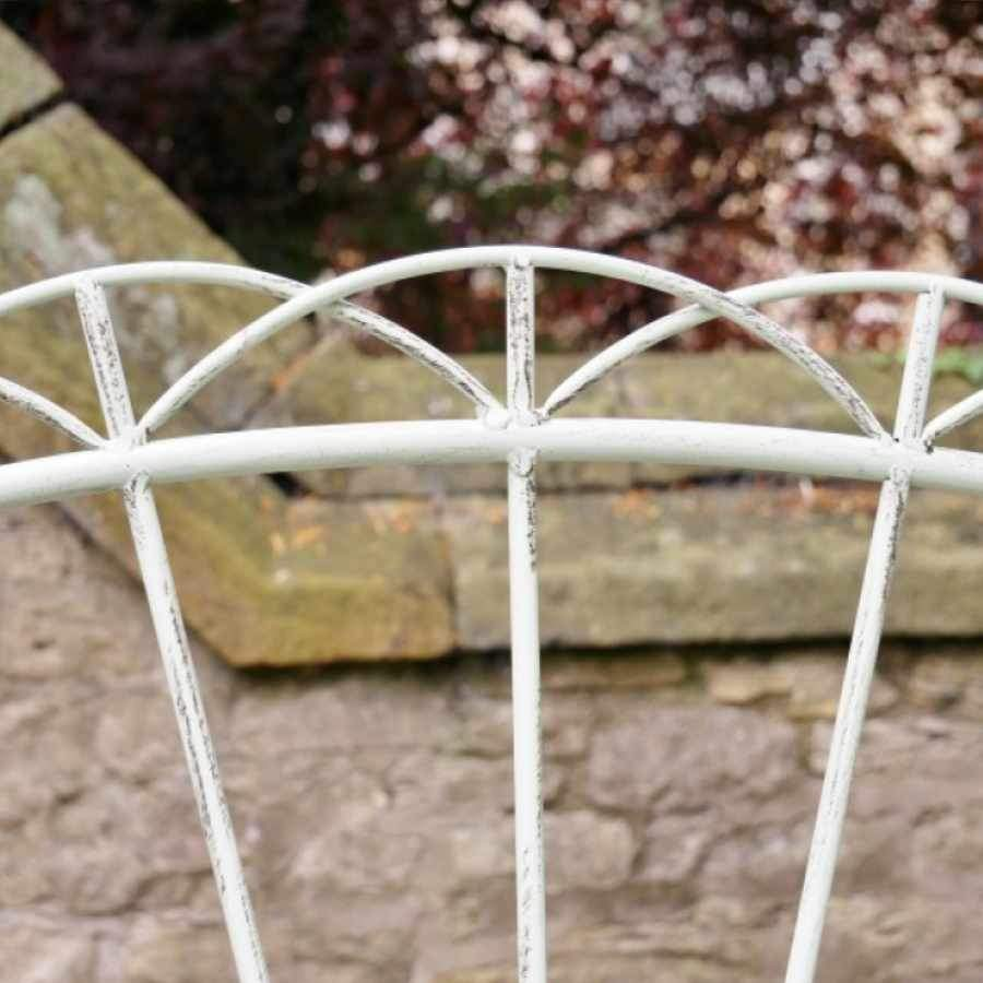 Distressed Steel Garden Bench - Pale Green
