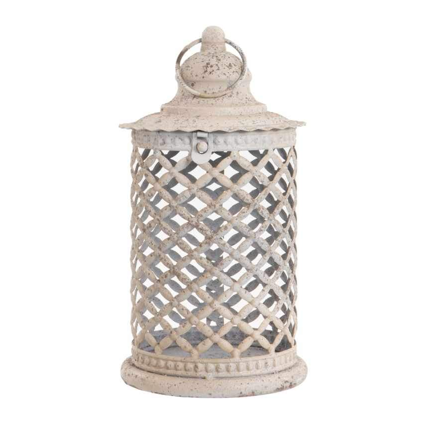 Distressed White Lattice Candle Lantern