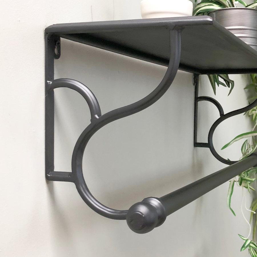 Distressed Black Iron Shelf with Rail at the Farthing 3