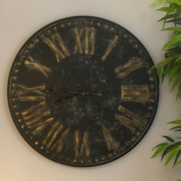 Distressed Black Metal Wall Clock at the Farthing 1