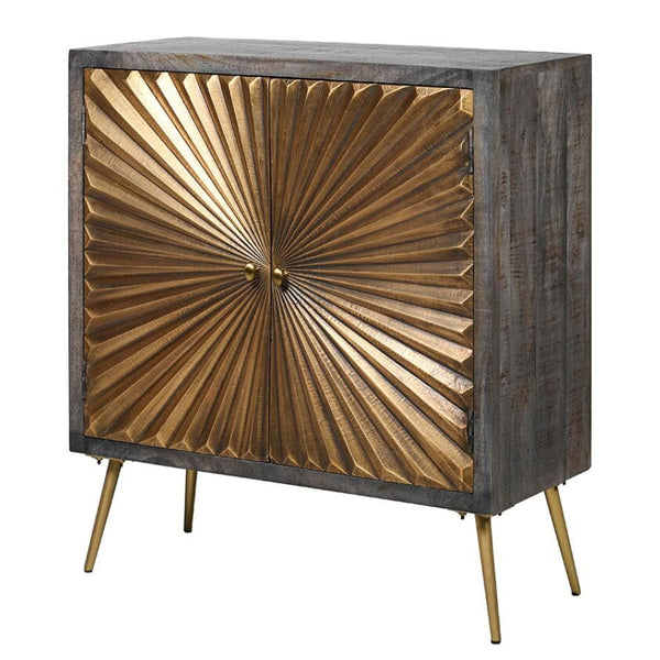 Distressed Brass Sunburst Cabinet at the Farthing