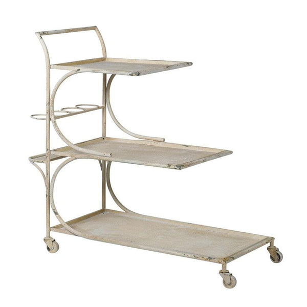 Distressed Cream Metal Drinks Trolley at the Farthing