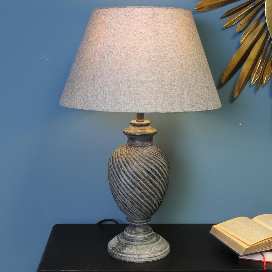 Distressed Finial Table Lamp and Shade at the Farthing