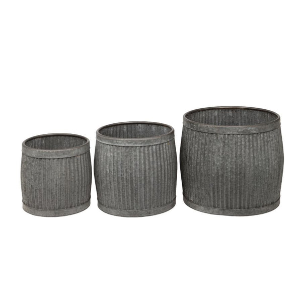Distressed Fluted Dolly Tub Planter Set - 3 at the Farthing