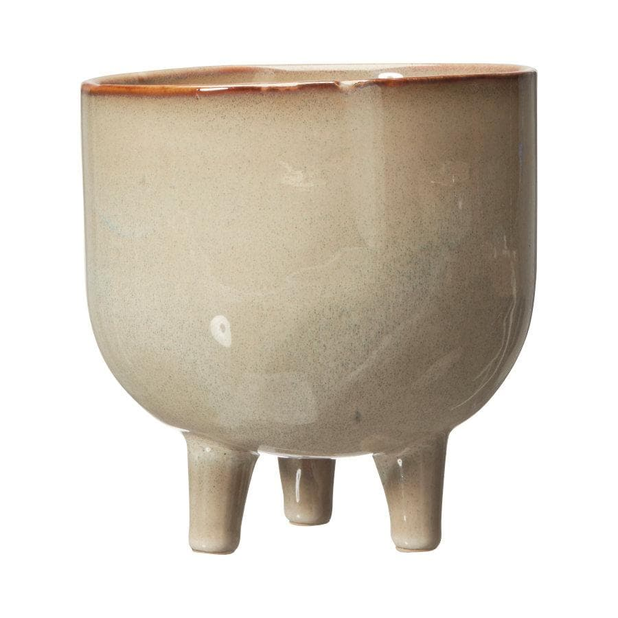 Beige Glaze Footed Plant Pot | The Farthing