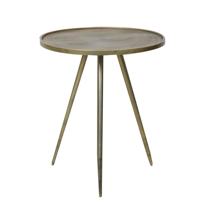 Distressed Gold Metal Side Table at the Farthing