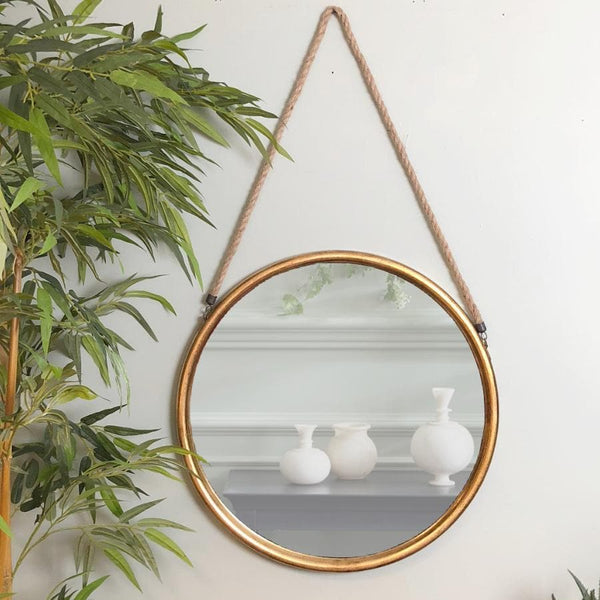 Distressed Gold Round Hanging Rope Mirror | The Farthing 1