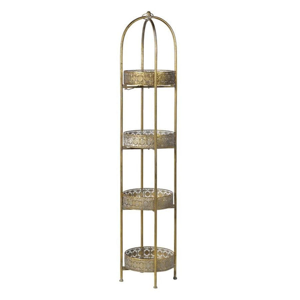 Distressed Gold Tall 4 Tier Round Tray Stand