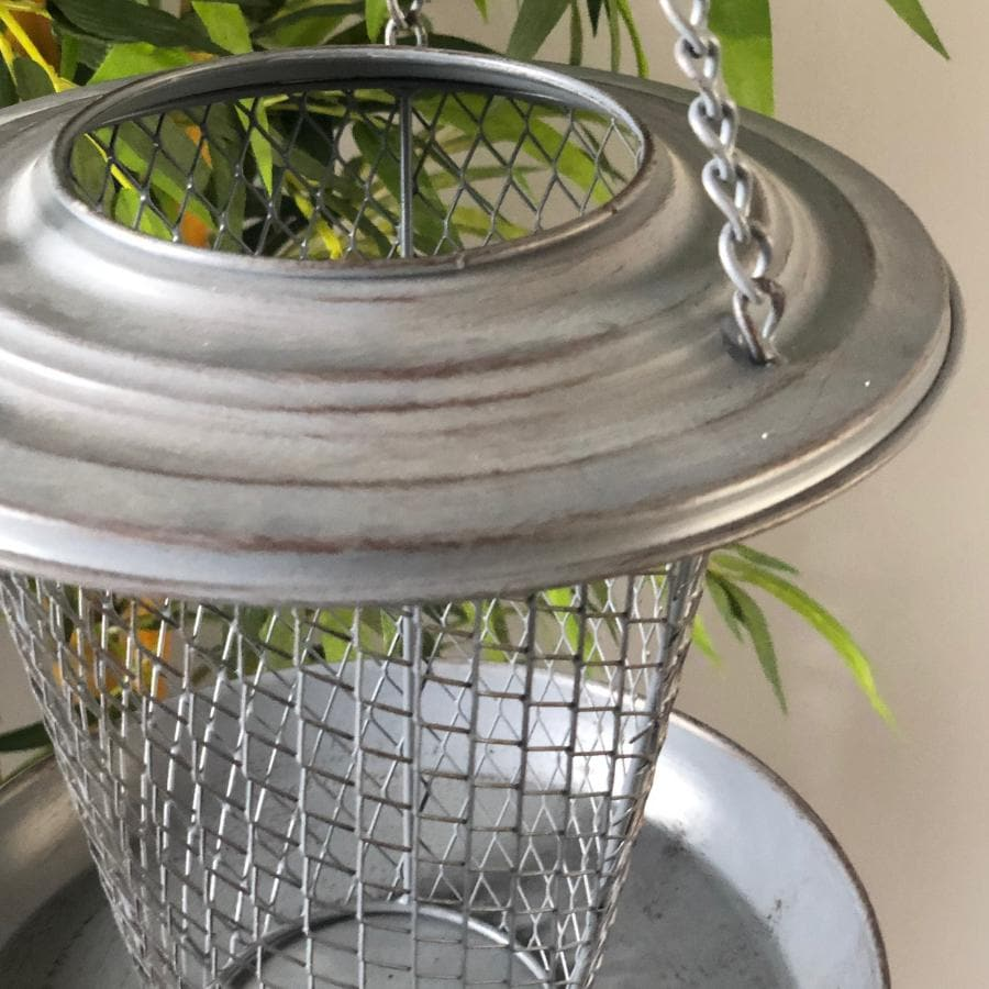 Distressed Grey Metal Hanging Bird Feeder