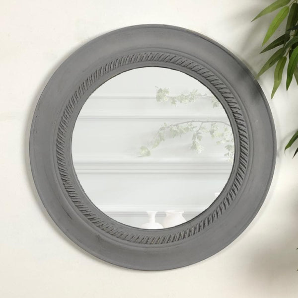 Distressed Grey Round Wall Mirror | Farthing 1