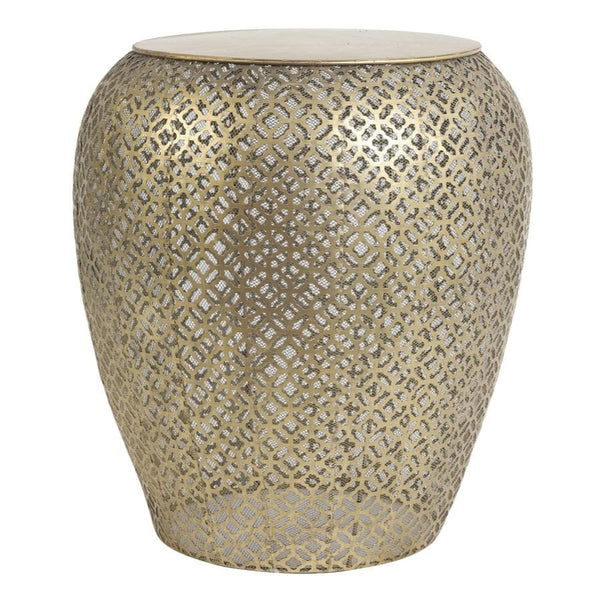 Distressed Metal Filigree Cylinder Side Table