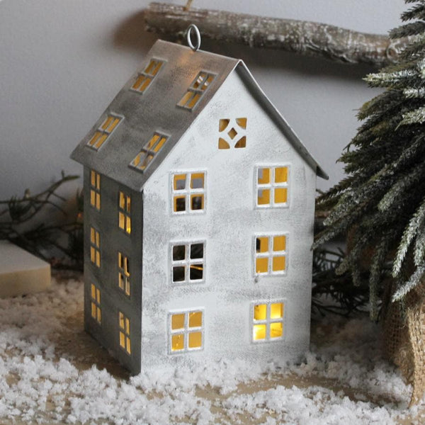 Distressed Metal Tea Light Christmas House | Farthing 2