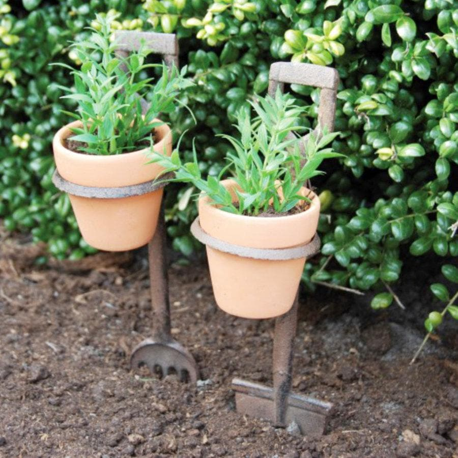 Distressed Spade and Fork Flower Pot Holders  | Farthing