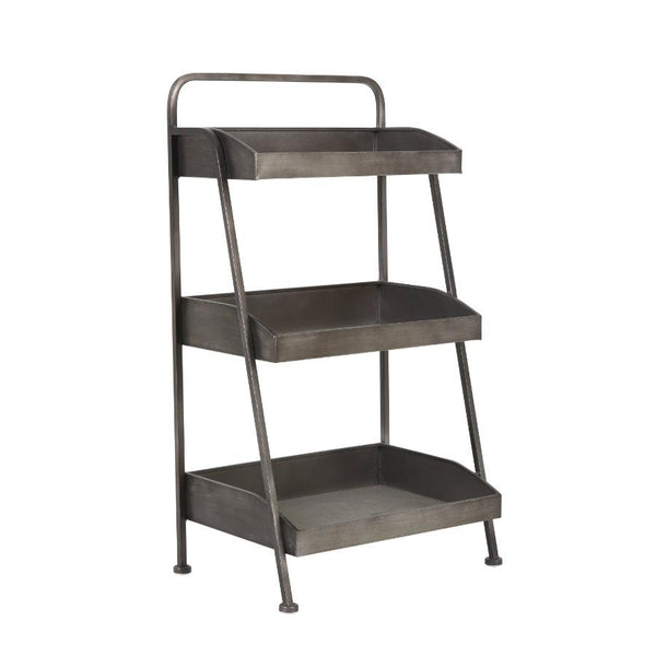 Distressed Tiered Storage Shelves at the Farthing