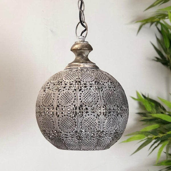 Domed Aged Metal Filigree Pendant Light | Farthing 2