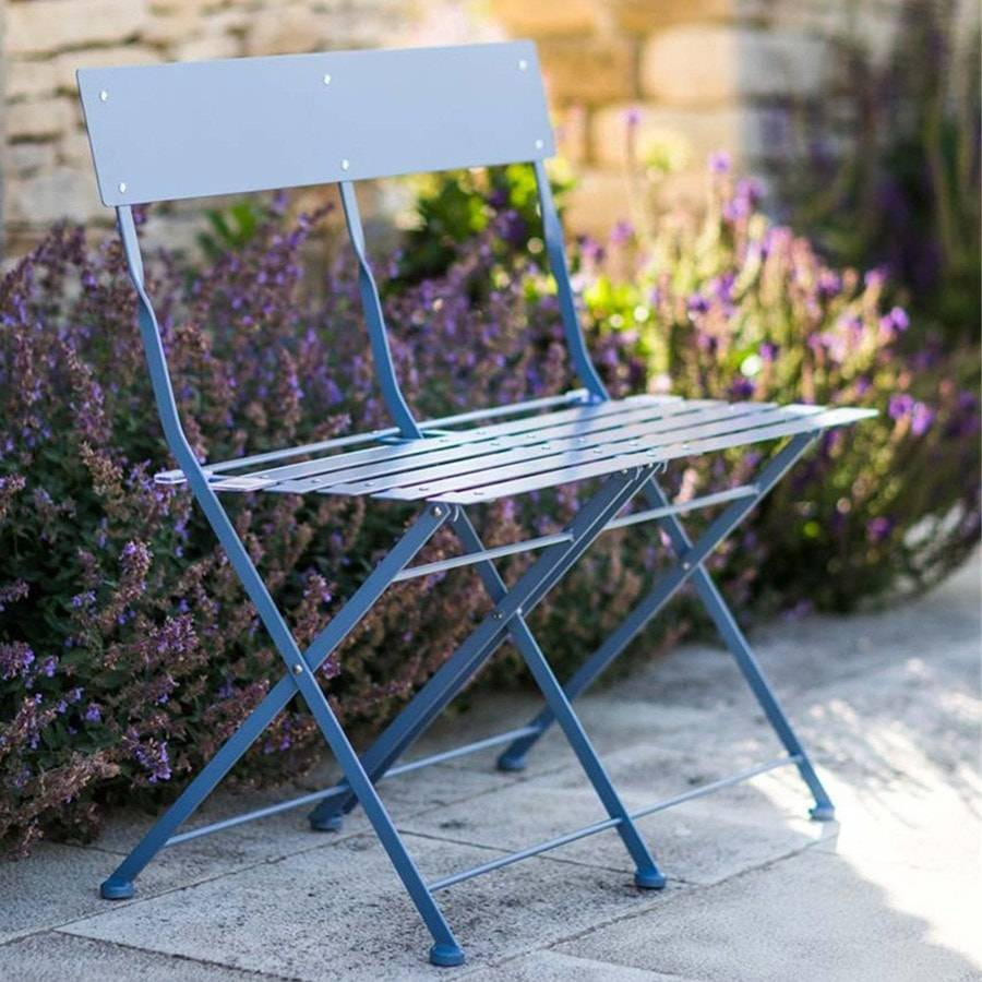 dorset blue folding bistro bench the farthing 1 - Garden Furniture Shabby Chic