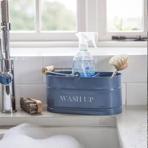 Dorset Blue Metal Wash Up Tidy Storage Bucket - The Farthing