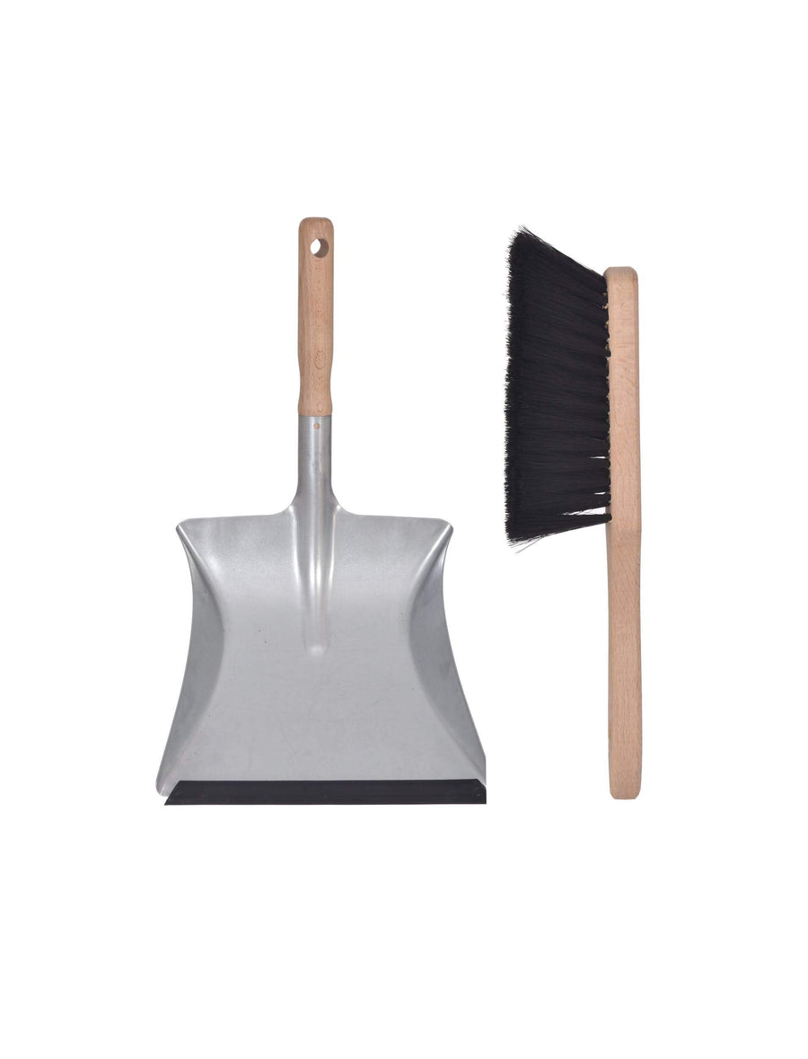 Metal and Wood Dustpan & Brush Set