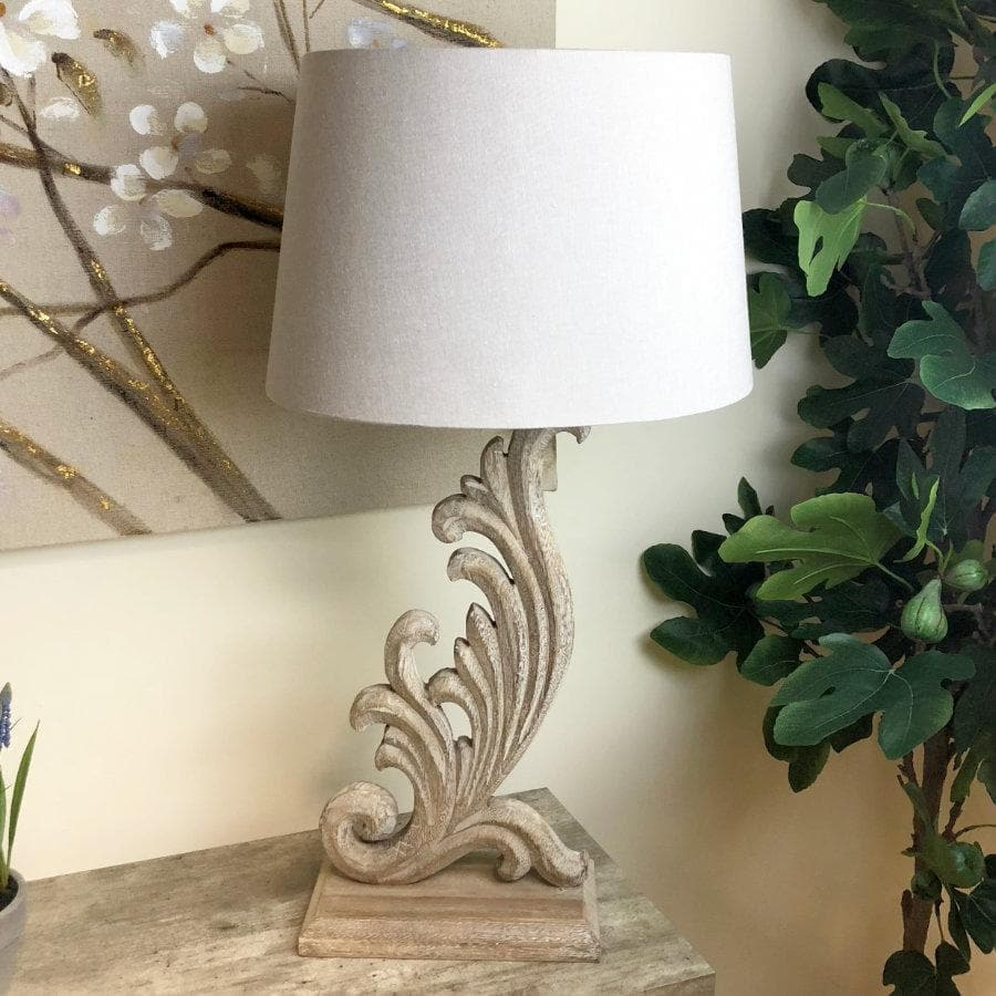 Elegant Carved Wooden Lamp with Shade at the Farthing 1